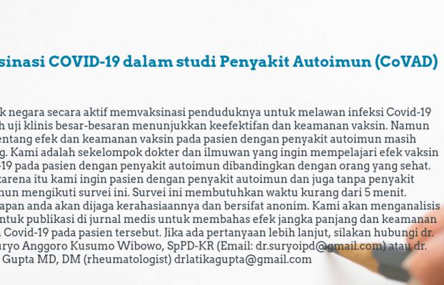 Penelitian Efek Vaksinasi SARS-CoV-2 terhadap Pasien Penyakit Reumatik Autoimun di Indonesia